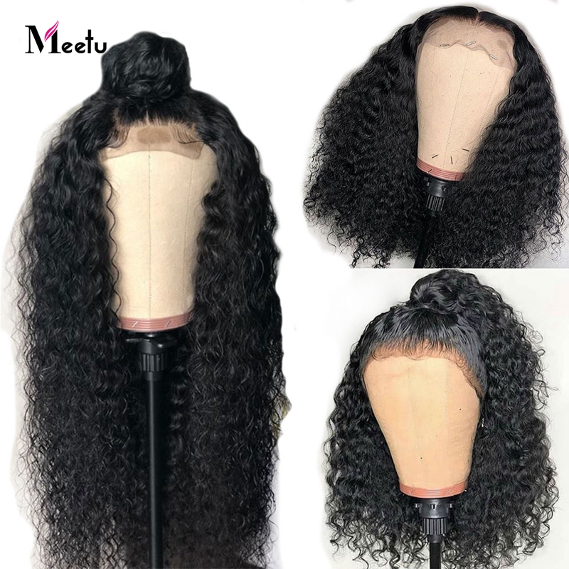 Meetu 4X4 Closure Wig Curly Human Hair Wig Malaysian Lace Front Human Hair Wigs Pre Plucked Lace Closure Wigs 100% Remy Hair Wig