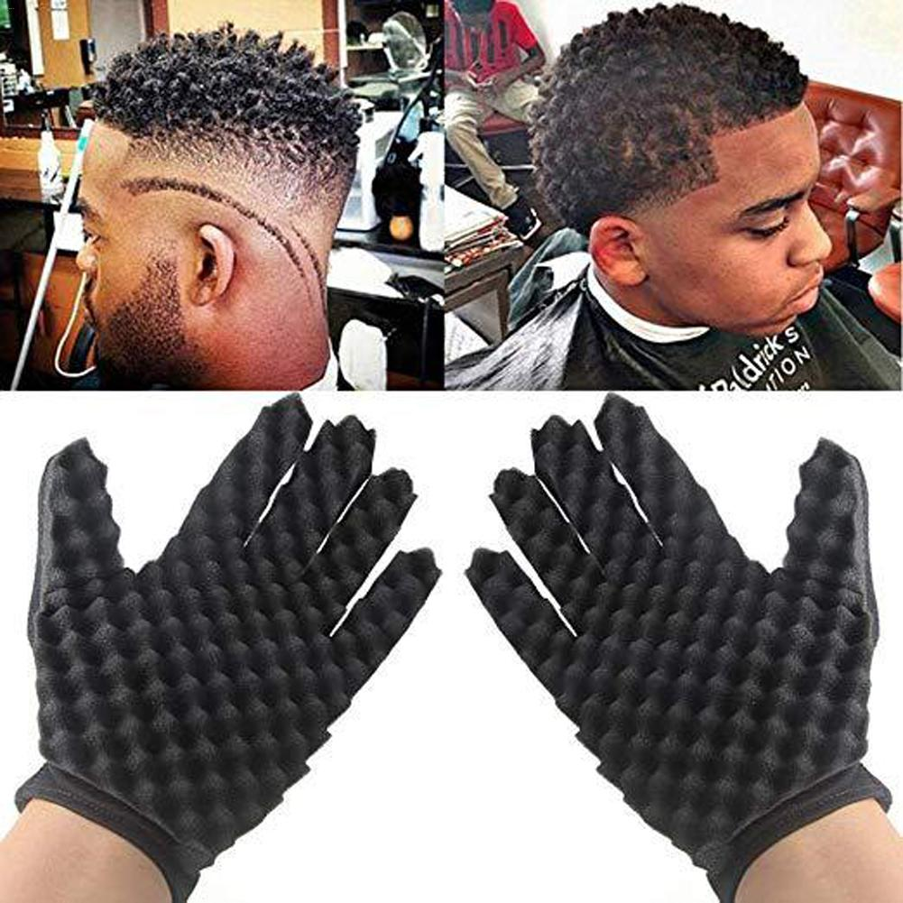 Curling Mold Curly Hair Gloves Wave Barber Hair Brush Sponge Gloves Black Twist Wave Curling Styling Hairdressing Tool CurlyHair