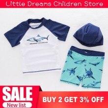 Дропшиппинг, купальный костюм для маленьких мальчиков, топ с короткими рукавами+ штаны+ шапочка, 3 предмета, Купальники Акула для младенцев, одежда для купания с героями мультфильмов