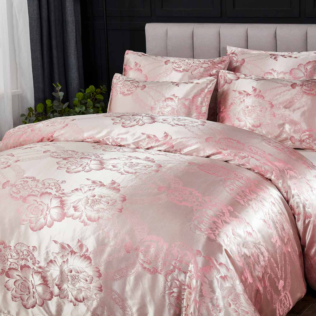 Best Price 9adc53 2 3pcs Pink Floral Satin Bedding Set Home Bedroom Soft Duvet Cover Pillowcases Set Full Queen King Size Luxury Jacquard Bed Sets Cicig Co