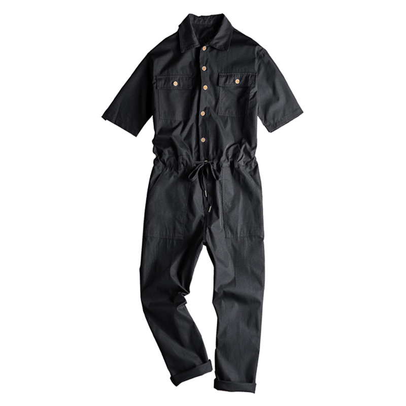 Sokotoo Men's Short Sleeve Ankle Length Jumpsuits Casual Loose Pockets Overalls Coveralls Black Yellow