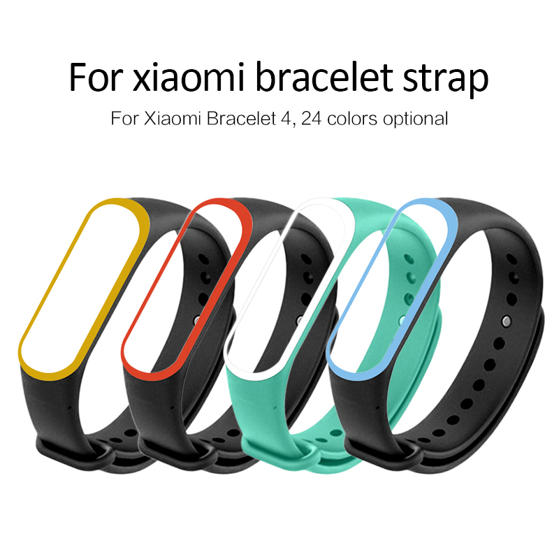 Silicone Wrist Strap For Xiaomi Mi Band 4 Dual Color Replacement Watch WristBand Smart Bracelet Sports Watch Strap 22 Colors
