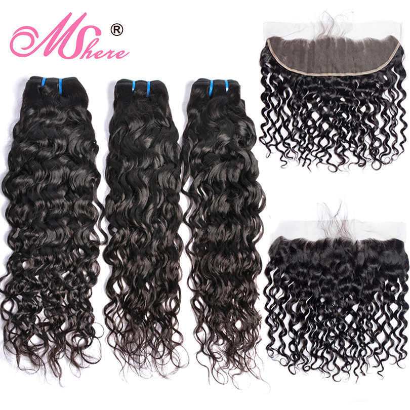 Brazilian Water Wave Human Hair Weave 3 Bundles With Lace Closure Frontal MShere Ear To Ear Closure With Non Remy Hair Bundles