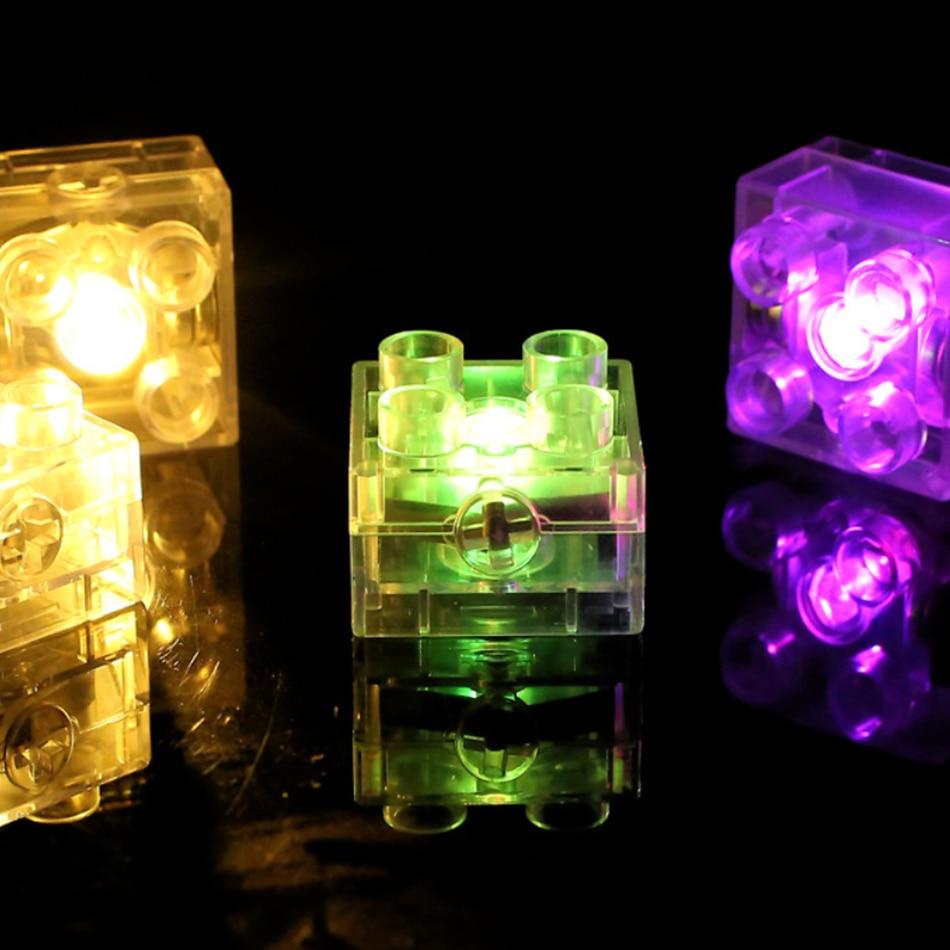 10 20PCS 2x2 dots Big Size LED Light Up Bricks DIY Parts Compatible duploed Base Plate