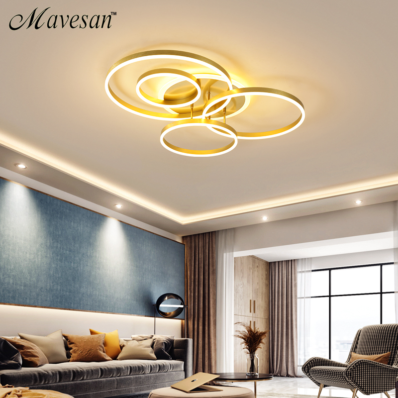 2020 New led ceiling light golden around AC110-220V for home decoration lustre de plafond for 10-15square meters