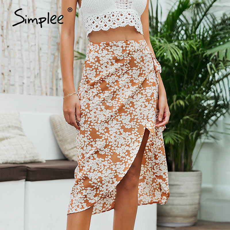 Simplee Floral Print Summer Skirt Women Sexy Asymmetrical Holiday Beach Wear Female Skirt Bow Sash Boho Ladies Chiffon Skirts