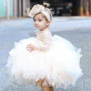 Фатиновое платье цвета шампанского для новорожденных девочек; платье для крещения на первый День рождения; платья наряды принцессы на крес...