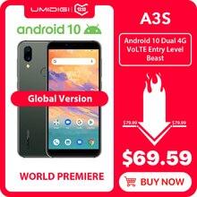 UMIDIGI A3S Android 10, глобальная полоса, 3950 мАч, двойная тыловая камера, 5,7 дюймов, смартфон, 13 МП, селфи, три слота, двойной, 4G VoLTE Celular