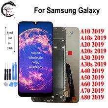 LCD do SAMSUNG Galaxy A80 A70 A60 A50 A40 A30 A20 A10 2019 wyświetlacz + rama A10s A20s A30s LCD ekran dotykowy Digitizer zgromadzenia