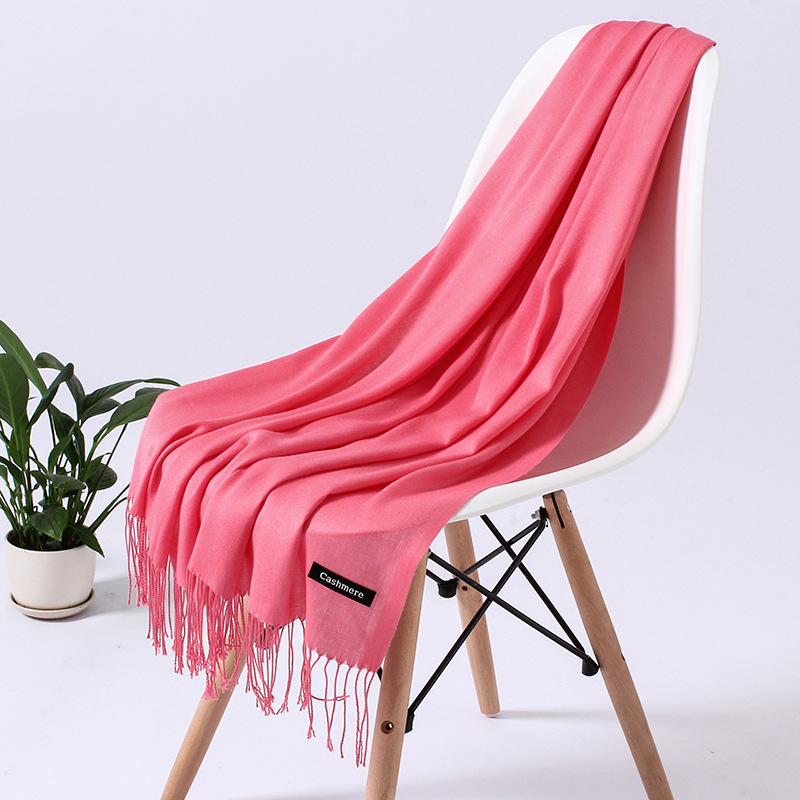 Однотонный кашемировый шарф для женщин новые длинные мягкие шали и палантины пашмины модные хиджаб с кисточками женские шейные шарфы - Цвет: 110g watermelon red