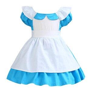 Платье с юбкой-пачкой для девочек, хлопковое платье в стиле Лолиты, платье на Хэллоуин, день рождения, костюм Алисы в Wonderlandes, платье для девоч...