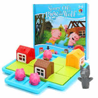 Verstecken & Suchen Bord Spiele Drie Kleine Biggetjes 48 Uitdaging erfüllt Oplossing Spiele IQ Training Speelgoed Voor Kinderen oyuncak