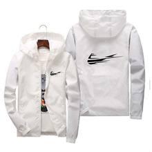 Men's Coat Jacket Spring Summer New Brand Logo Printing Street Windbreaker Hoodie Zipper Thin Jackets fashion Casual Top 7XL
