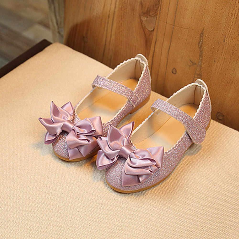 Niños nueva moda Zapatos casuales cómodos niños niñas moda princesa Bowknot baile nobuck cuero solo zapatos