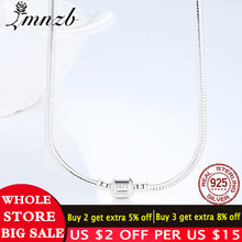 LMNZB 100% Original 925 Solid Silver Snake Chain Necklace with Secure Ball Clasp Fit Beads Charm Necklace For Women Gift Jewelry(China)