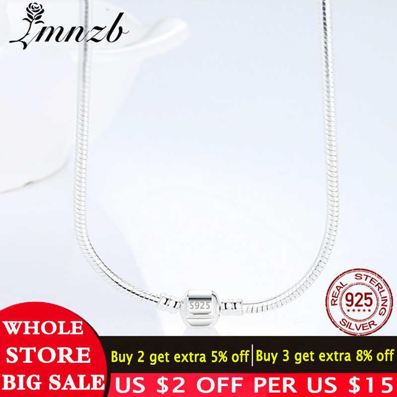 LMNZB 100% oryginalny 925 lite srebro wąż łańcuch naszyjnik z bezpieczne Ball zapięcie Fit koraliki naszyjnik charms dla kobiet prezent biżuteria