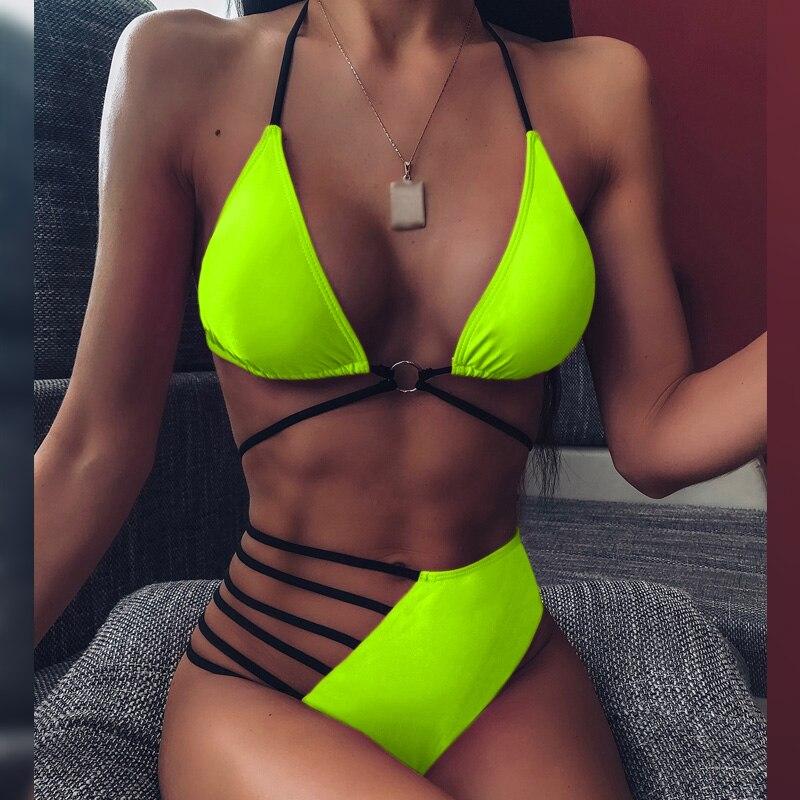 String lace up bikini Bandage bathing suit Neon bikini 2020 Halter high waist  swimwear women Brazilian sexy swimsuit female new 3