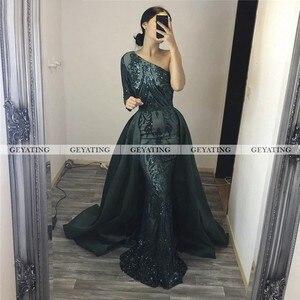 Image 4 - Dubai Emerald Green One Shoulder Evening Dress Detachable Train Long Sleeve Mermaid Arabic Formal Dresses Muslim Long Party Gown
