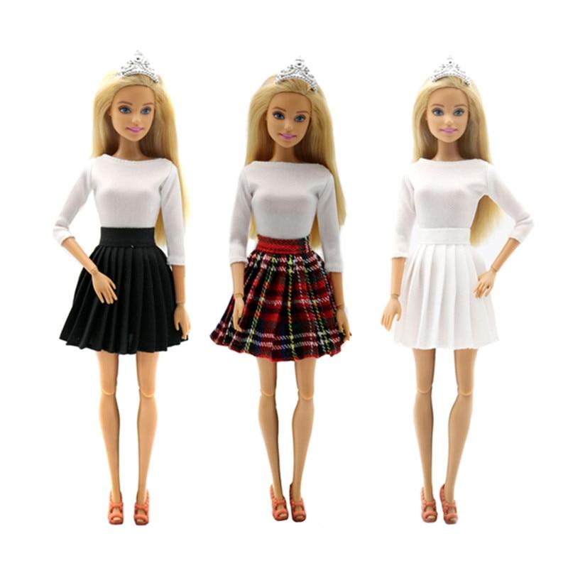 Moda branco tops saia conjunto de roupas para barbie 1/6 bjd sd boneca roupas acessórios jogar casa vestir-se