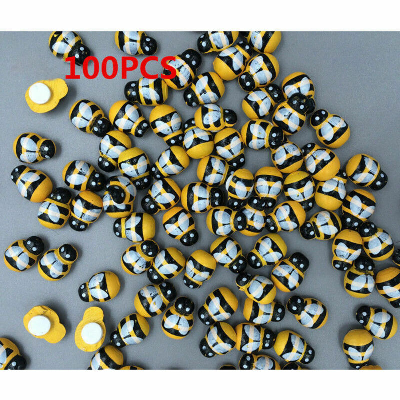Cute 100pcs 13mm Wooden Yellow Animal Bee Stickers Fridge 3D Adhesive Art Wall Sticker Room Decoration