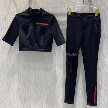 2021 letnie garnitury damskie czarna porządna konstrukcja paska krótkie topy + długie spodnie zestawy Hign-End tanie i dobre opinie ANGVILME Stałe CN (pochodzenie) Lato szarfy elegancki Pełna długość COTTON z włókien syntetycznych 31 (włącznie)-50 (włącznie)