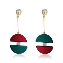 DREJEW Korean Red Green Contrast Color Drop Earrings Long Statement Steel Needle Alloy Dangle for Women Wedding HE7071
