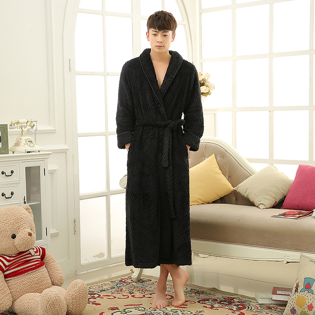 Lovers Thick Warm Winter Bathrobe Soft as Silk Extra Long Bath Robe Male Female Dressing Gown for Mens Women Robes