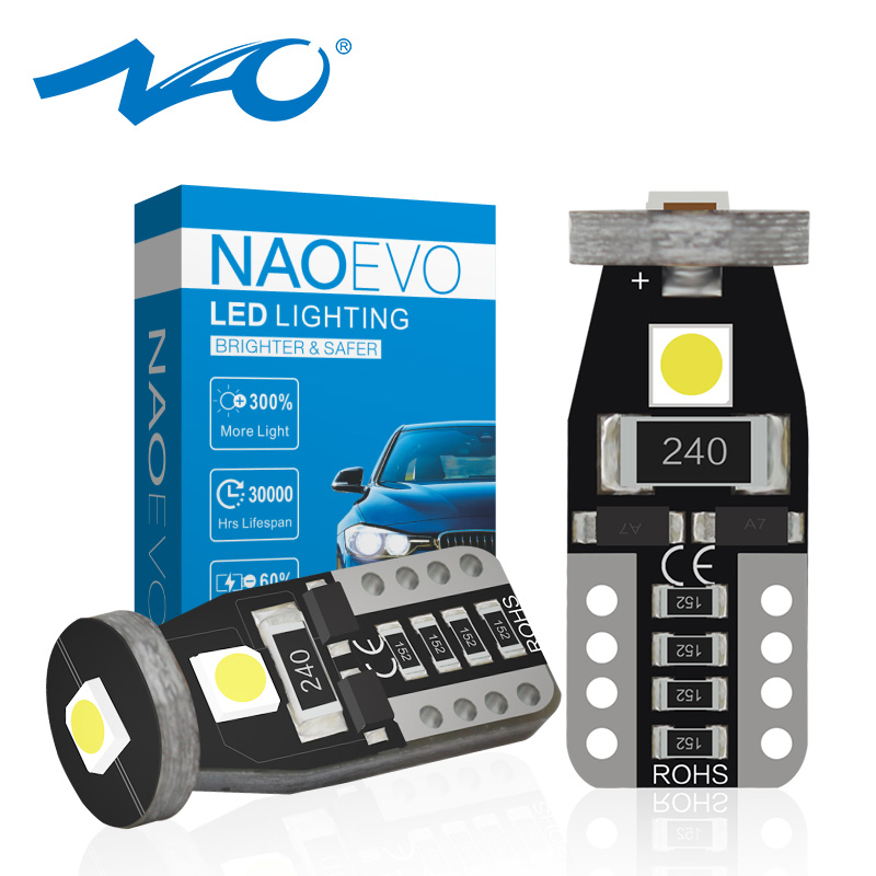 NAO T10 W5W LED Bulbs 1.7W Side Light Car Interior Lighting 3030 SMD Instrument Panel Marker Lamp 12V Auto 194 168 6000K White