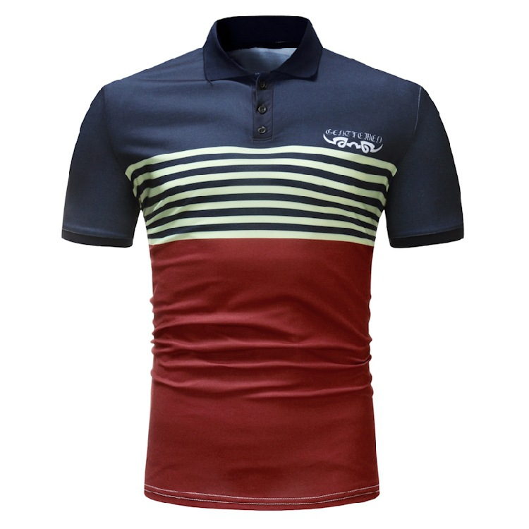 Summer Foreign Trade Men'S Wear AliExpress EBay Casual Stripes Short-sleeved   Polo   Shirt-Style Europe And America Slim Fit Lapel