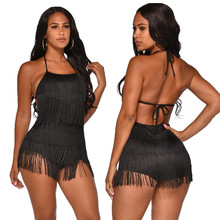 Tassel Bodysuit Fringed Body Suit Black Short Jumpsuit Rompe