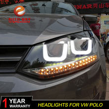 Car Styling Head Lamp case for VW Polo Headlights 2011-2018 LED polo Headlight Daytime Running Light Bi-Xenon HID Accessories(China)