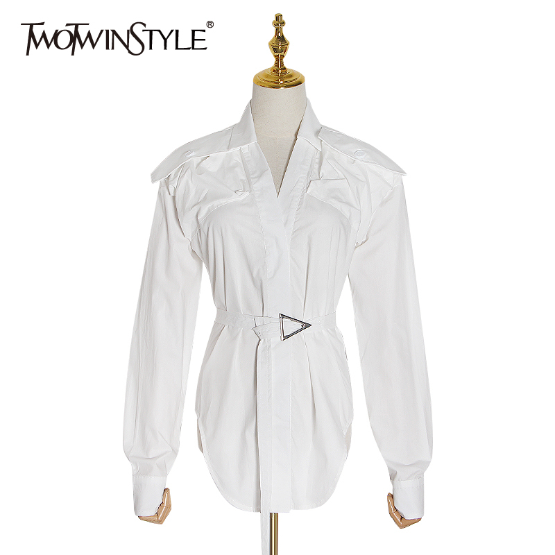 TWOTWINSTYLE Casual Shirt Women Lapel Collar Long Sleeve High Waist Sashes Asymmetrical Shirts Female Clothing 2020 Fashion Tide
