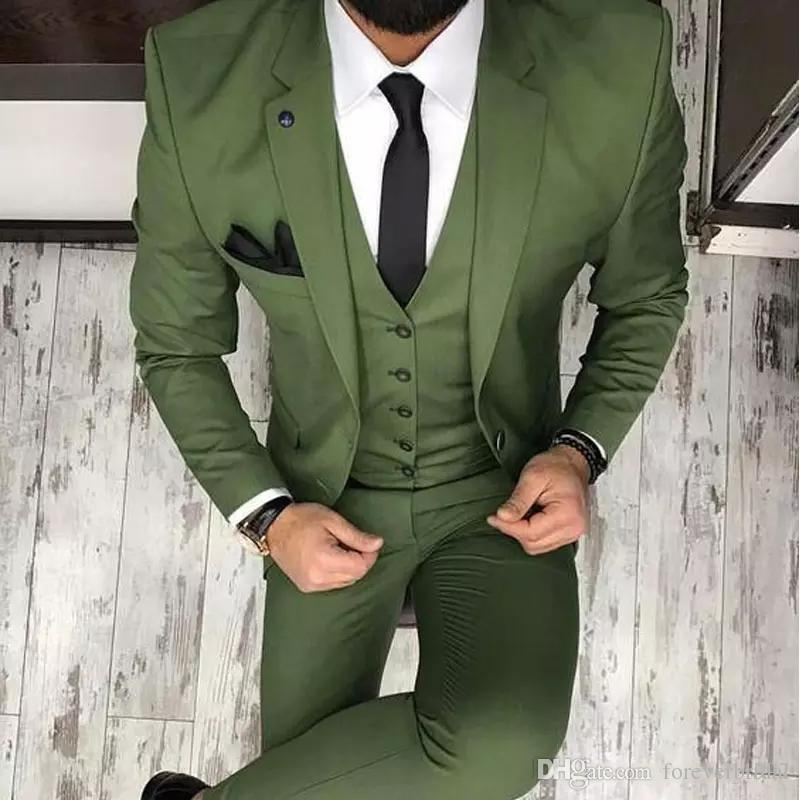 Olive Green Mens Suits For Groom Tuxedos Notched Lapel Slim Fit Blazer 3 Pieces (Jacket Pants Vest) Wedding Suit Men 2020 Terno