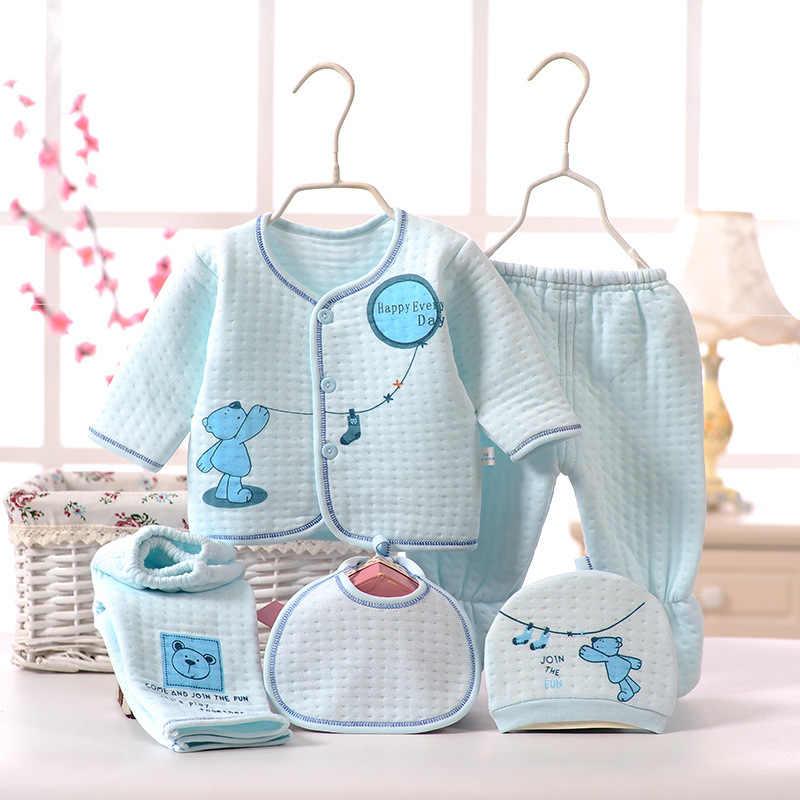 CYSINCOS מתנת יילוד תינוק יוניסקס 5 יחידות\סט בגדים רך כותנה סט תינוק ארוך שרוול בנות חולצה + מכנסיים ליקוק כובע חליפת תחתונים