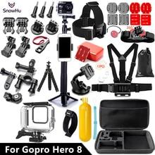 SnowHu Gopro Hero 8 siyah seti 45M sualtı su geçirmez kılıf kamera dalış konut montaj GoPro aksesuar GS93
