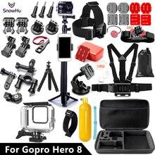 Snowhu suporte para câmera de gopro hero 8, conjunto preto de 45m à prova dágua, câmera de mergulho, acessório para gopro gs93