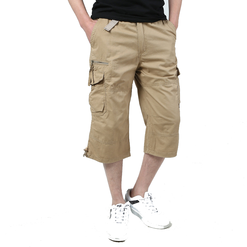Men's Long Length Cargo Shorts 2020 Summer Casual Cotton Multi Pocket Knee Elastic Capri Breeches Bermudas Army Military Shorts