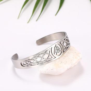 Bracelets manchette Viking Lemegeton noeud irlandais Bracelet noeud celtique hommes femmes amulette bijoux Talisman Bracelet acier inoxydable (Copie) 11