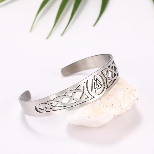 Bracelets manchette Viking Lemegeton noeud irlandais Bracelet noeud celtique hommes femmes amulette bijoux Talisman Bracelet acier inoxydable (Copie) 6