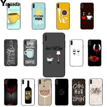 Yinuoda café copa de vino novedad fundas teléfono carcasa de la cubierta para el iPhone 8 De Apple 7 6 6S Plus X XS X MAX 5 5S SE XR 11 11pro