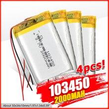 Batterie au Lithium polymère 2/4 103450 V, 1/3.7 haute capacité 2000 Mah li-po li-polymère MP5 GPS Bluetooth haut-parleur, lampe solaire