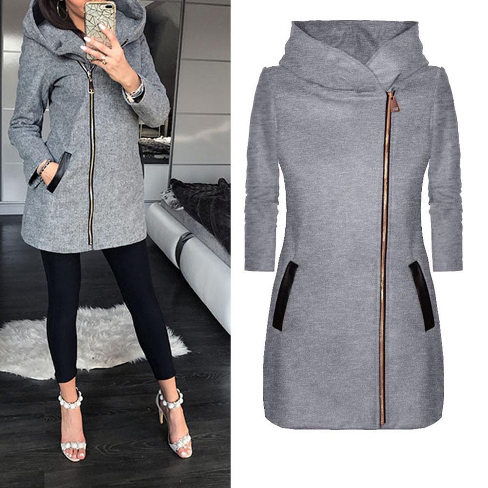 Autumn Winter Plus Size Fashion Women Coat Solid Color Zip Up Long Sleeve Hooded Jacket Coat Outerwear Long Section Women's Coat