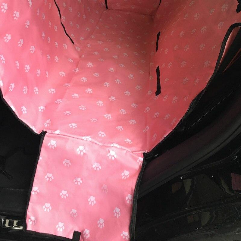 Конфеты питомник след Средства для переноски собак Водонепроницаемый задняя собака автомобиля сиденья Коврики Гамак Протектор с Предметы безопасности ремень D1010 - Цвет: Розовый