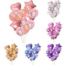 14pcs Multi Confetti Balloons Set Happy Birthday Party Decorations Kids Wedding Anniversary Ballon Baby Shower Foil Air globals