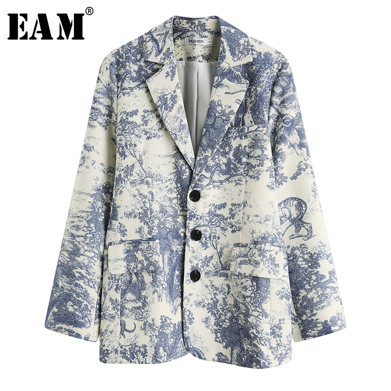 [EAM]  Women Pattern Printed Temperament Blazer New Lapel Long Sleeve Loose Fit  Jacket Fashion Tide Spring Autumn 2020 1T891