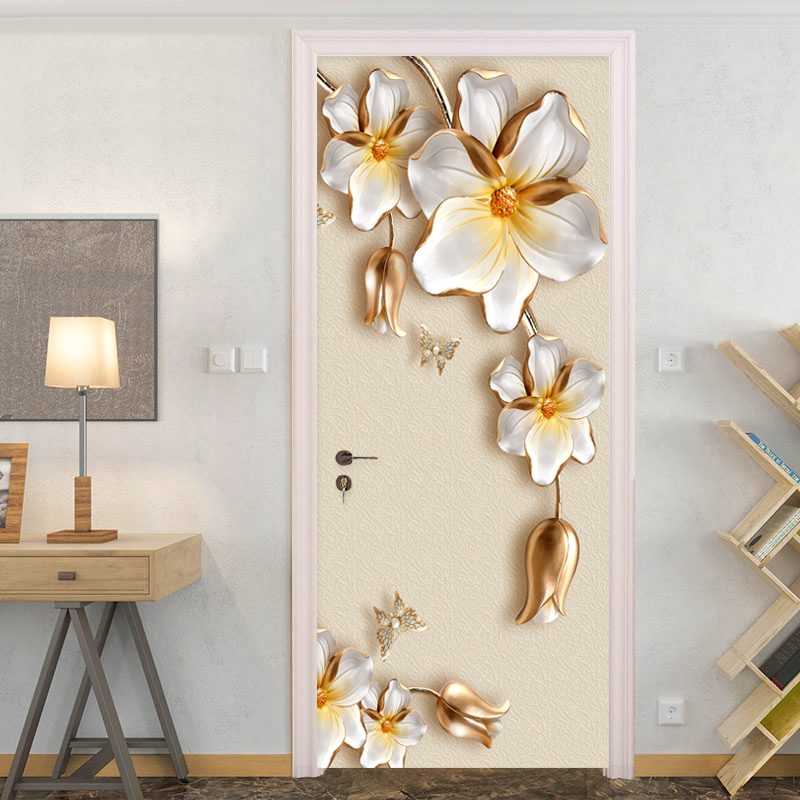 3D Door Sticker European Style Luxury Golden Flowers Mural Wallpaper Living Room Bedroom 3D Door Poster Self-Adhesive Waterproof