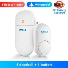 Kerui m518 campainha sem fio auto geração de energia 52 músicas segurança em casa inteligente bem-vindo sinos da porta led luz com botão