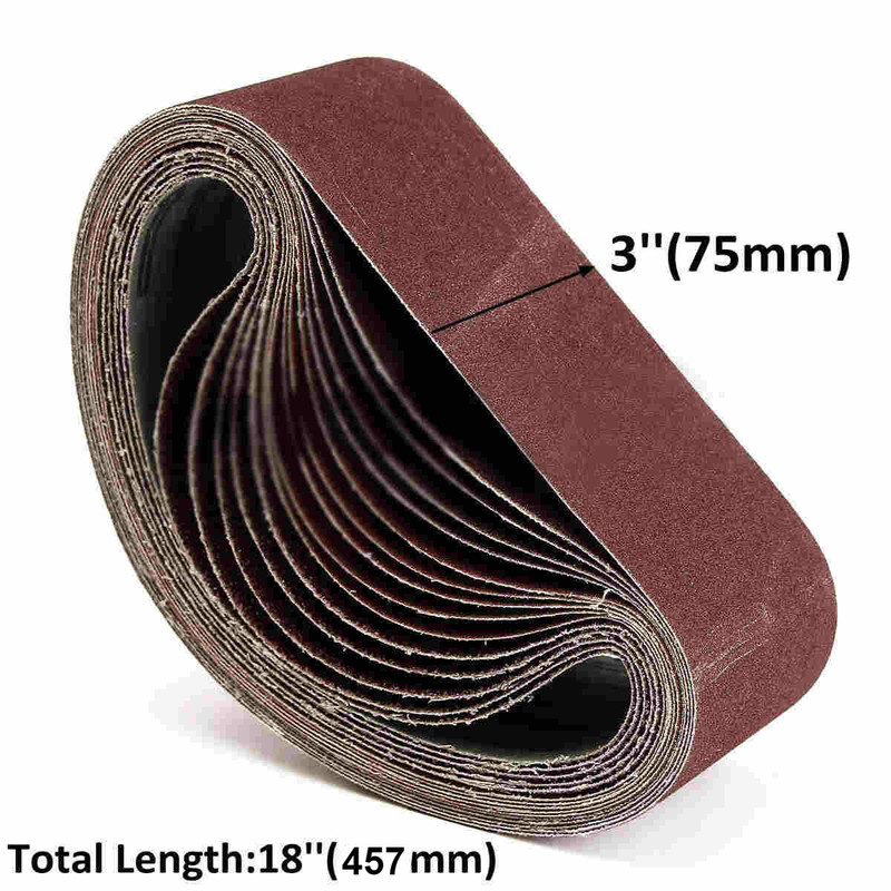 10Pcs 75x457mm Sanding Belts P40 - P1000 Abrasive Sanding Screen Band For Wood Soft Metal Grinding Polishing Abrasive Belt