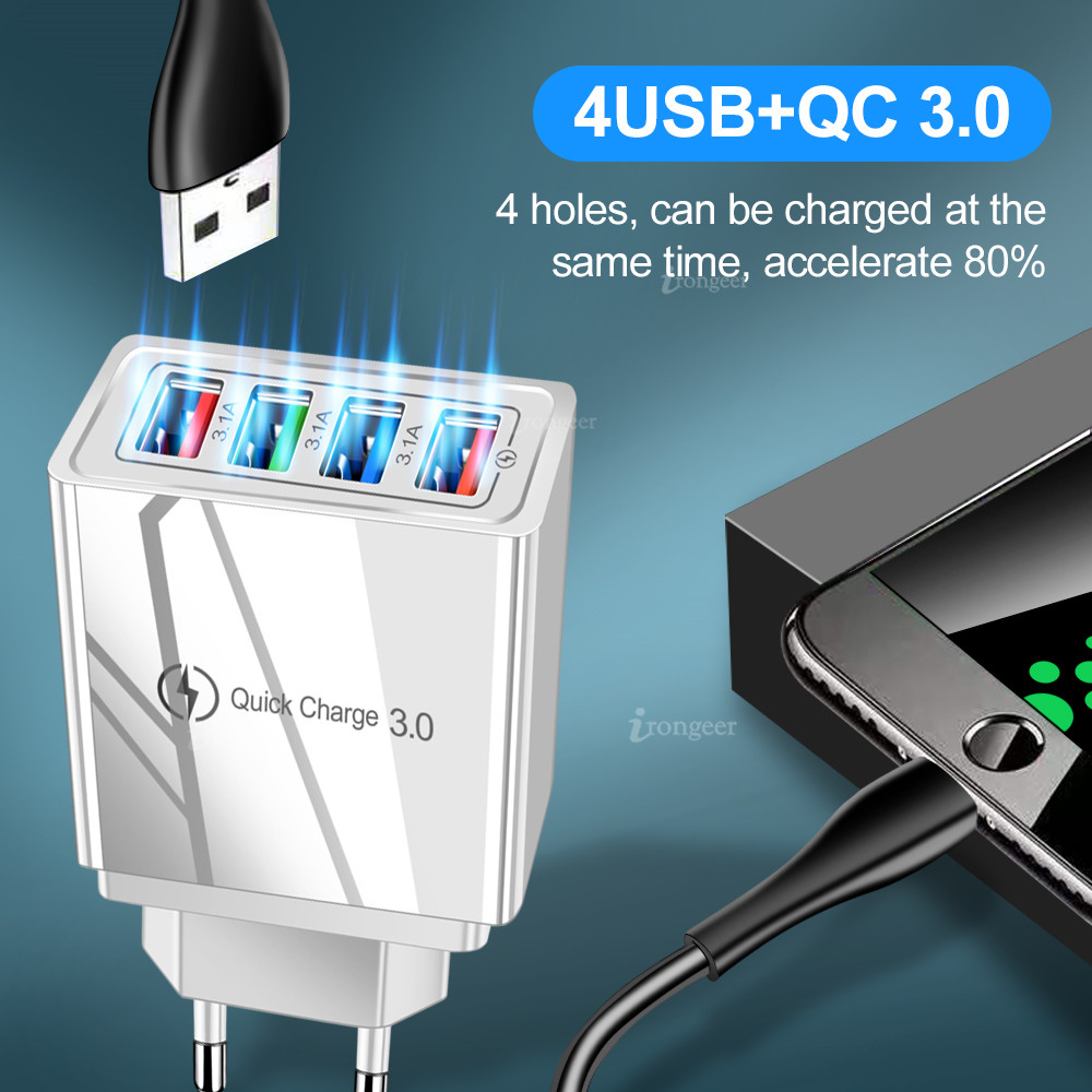 USB Charger Quick Charge 3.0 4.0 QC3.0 Fast Charging Mobile Phone Charger For iPhone X Samsung Xiaomi Huawei Tablet Wall Adapter 2