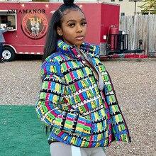 ANJAMANOR Fashion Winter Parka Letter Print Puffer Jacket Women Bubble Coat Plus